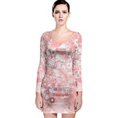 Lovely Allover Ring Shapes Flowers Long Sleeve Bodycon Dresses