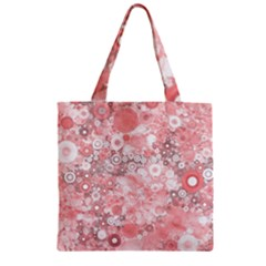 Lovely Allover Ring Shapes Flowers Zipper Grocery Tote Bags