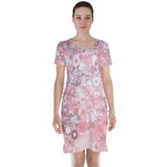 Lovely Allover Ring Shapes Flowers Short Sleeve Nightdresses