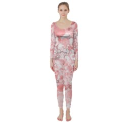 Lovely Allover Ring Shapes Flowers Long Sleeve Catsuit