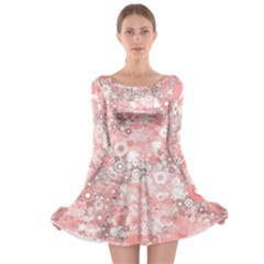 Lovely Allover Ring Shapes Flowers Long Sleeve Skater Dress