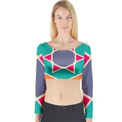 Red retro star Long Sleeve Crop Top
