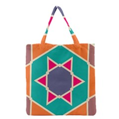 Red Retro Star Grocery Tote Bag