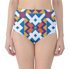 Shapes in rectangles pattern High-Waist Bikini Bottoms