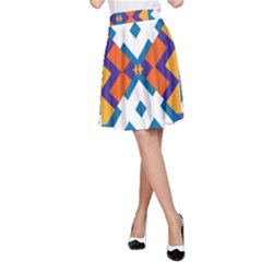 Shapes in rectangles pattern A-line Skirt