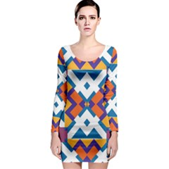 Shapes in rectangles pattern Long Sleeve Bodycon Dress