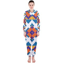 Shapes in rectangles pattern Hooded OnePiece Jumpsuit
