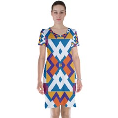 Shapes In Rectangles Pattern Short Sleeve Nightdress