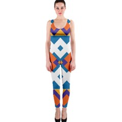 Shapes In Rectangles Pattern Onepiece Catsuit