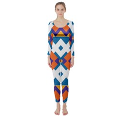 Shapes In Rectangles Pattern  Long Sleeve Catsuit