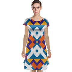 Shapes in rectangles pattern Cap Sleeve Nightdress