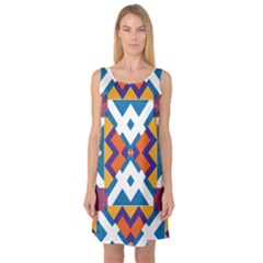 Shapes in rectangles pattern Sleeveless Satin Nightdress