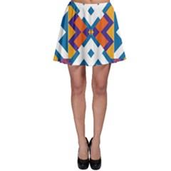 Shapes in rectangles pattern Skater Skirt