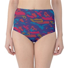 Chaos in retro colors High-Waist Bikini Bottoms