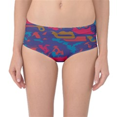 Chaos in retro colors Mid-Waist Bikini Bottoms