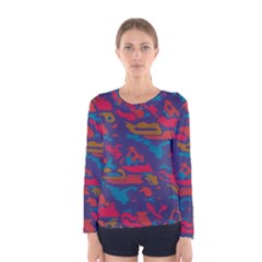 Chaos in retro colors Women Long Sleeve T-shirt