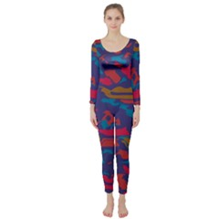 Chaos In Retro Colors  Long Sleeve Catsuit