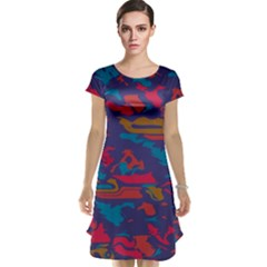 Chaos in retro colors Cap Sleeve Nightdress