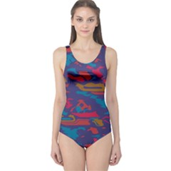 Chaos In Retro Colors Women s One Piece Swimsuit