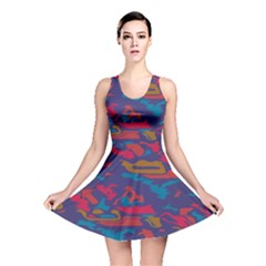 Chaos In Retro Colors Reversible Skater Dress