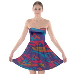 Chaos in retro colors Strapless Bra Top Dress