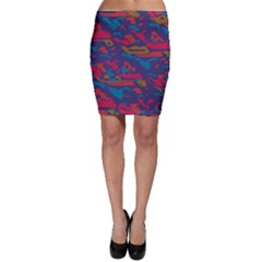 Chaos in retro colors Bodycon Skirt