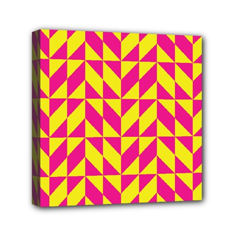 Pink and yellow shapes pattern Mini Canvas 6  x 6  (Stretched)