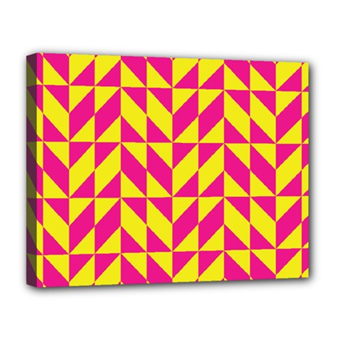 Pink and yellow shapes pattern Canvas 14  x 11  (Stretched)