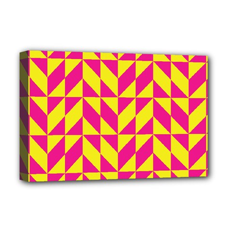Pink and yellow shapes pattern Deluxe Canvas 18  x 12  (Stretched)
