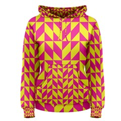 Pink and yellow shapes pattern Women s Pullover Hoodie