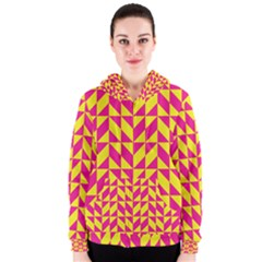 Pink and yellow shapes pattern Women s Zipper Hoodie