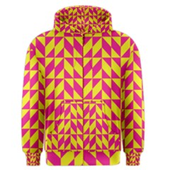 Pink and yellow shapes pattern Men s Zipper Hoodie