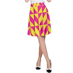 Pink and yellow shapes pattern A-line Skirt