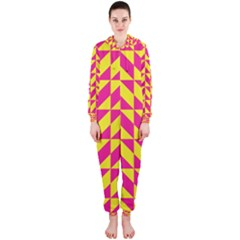 Pink and yellow shapes pattern Hooded OnePiece Jumpsuit