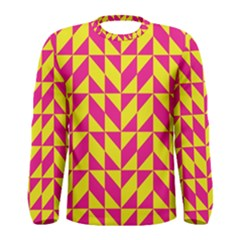 Pink And Yellow Shapes Pattern Men Long Sleeve T Shirt