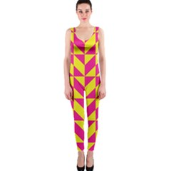 Pink and yellow shapes pattern OnePiece Catsuit
