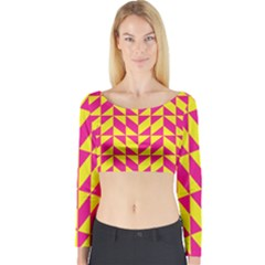 Pink and yellow shapes pattern Long Sleeve Crop Top