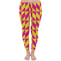 Pink and yellow shapes pattern Winter Leggings