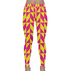 Pink And Yellow Shapes Pattern Yoga Leggings