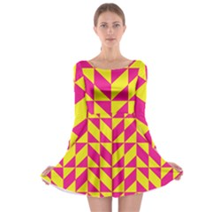Pink And Yellow Shapes Pattern Long Sleeve Skater Dress