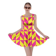 Pink And Yellow Shapes Pattern Skater Dress