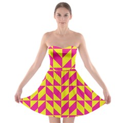 Pink And Yellow Shapes Pattern Strapless Bra Top Dress