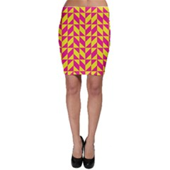 Pink and yellow shapes pattern Bodycon Skirt