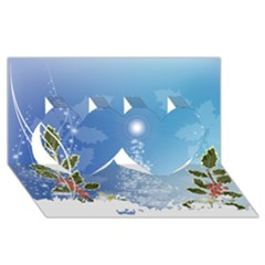 Christmas Tree Twin Hearts 3D Greeting Card (8x4)