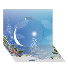 Christmas Tree Circle 3d Greeting Card (7x5)