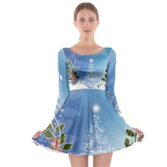 Christmas Tree Long Sleeve Skater Dress