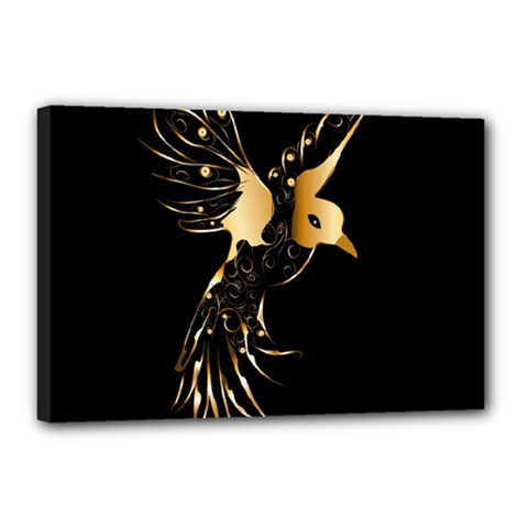 Beautiful Bird In Gold And Black Canvas 18  X 12