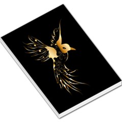 Beautiful Bird In Gold And Black Large Memo Pads