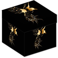 Beautiful Bird In Gold And Black Storage Stool 12
