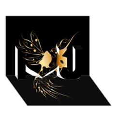 Beautiful Bird In Gold And Black I Love You 3d Greeting Card (7x5)
